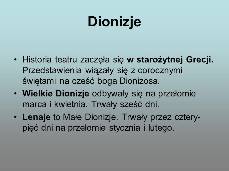 Dionizje Historia teatru zaczęła się w starożytnej Grecji. Przedstawienia wiązały się z corocznymi świętami na cześć boga Dionizosa.