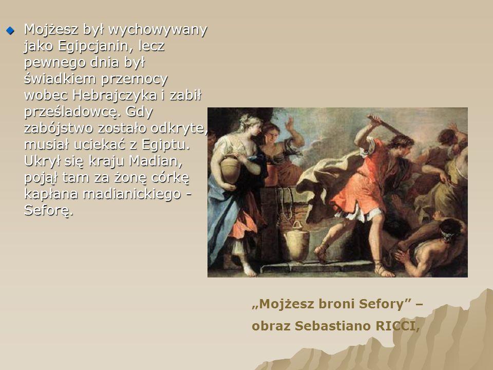 Mojżesz był wychowywany jako Egipcjanin, lecz pewnego dnia był świadkiem przemocy wobec Hebrajczyka i zabił prześladowcę. Gdy zabójstwo zostało odkryte, musiał uciekać z Egiptu. Ukrył się kraju Madian, pojął tam za żonę córkę kapłana madianickiego - Seforę.