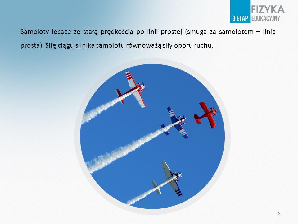 Samoloty lecące ze stałą prędkością po linii prostej (smuga za samolotem – linia prosta).