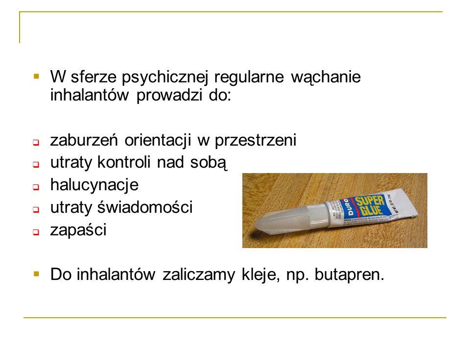 W sferze psychicznej regularne wąchanie inhalantów prowadzi do:
