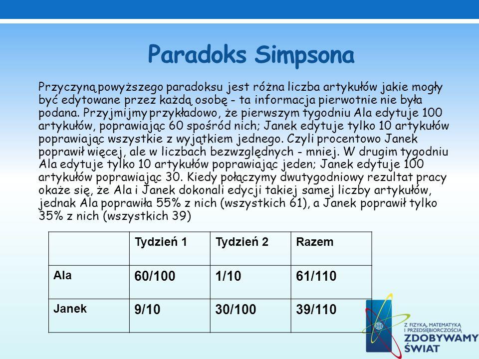 Paradoks Simpsona 60/100 1/10 61/110 9/10 30/100 39/110 Tydzień 1