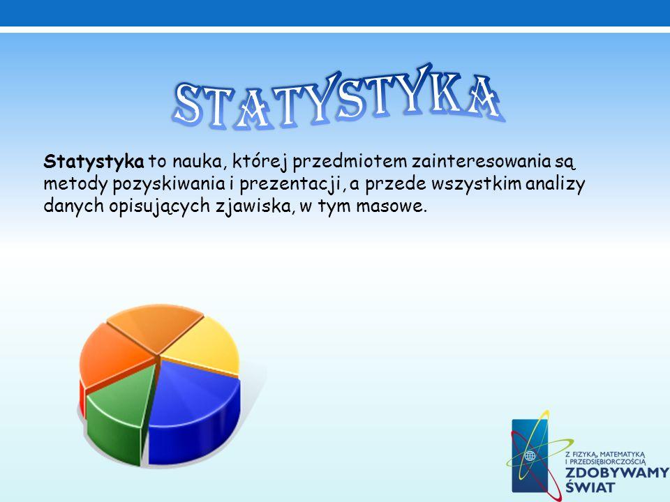 Statystyka to nauka, której przedmiotem zainteresowania są metody pozyskiwania i prezentacji, a przede wszystkim analizy danych opisujących zjawiska, w tym masowe.
