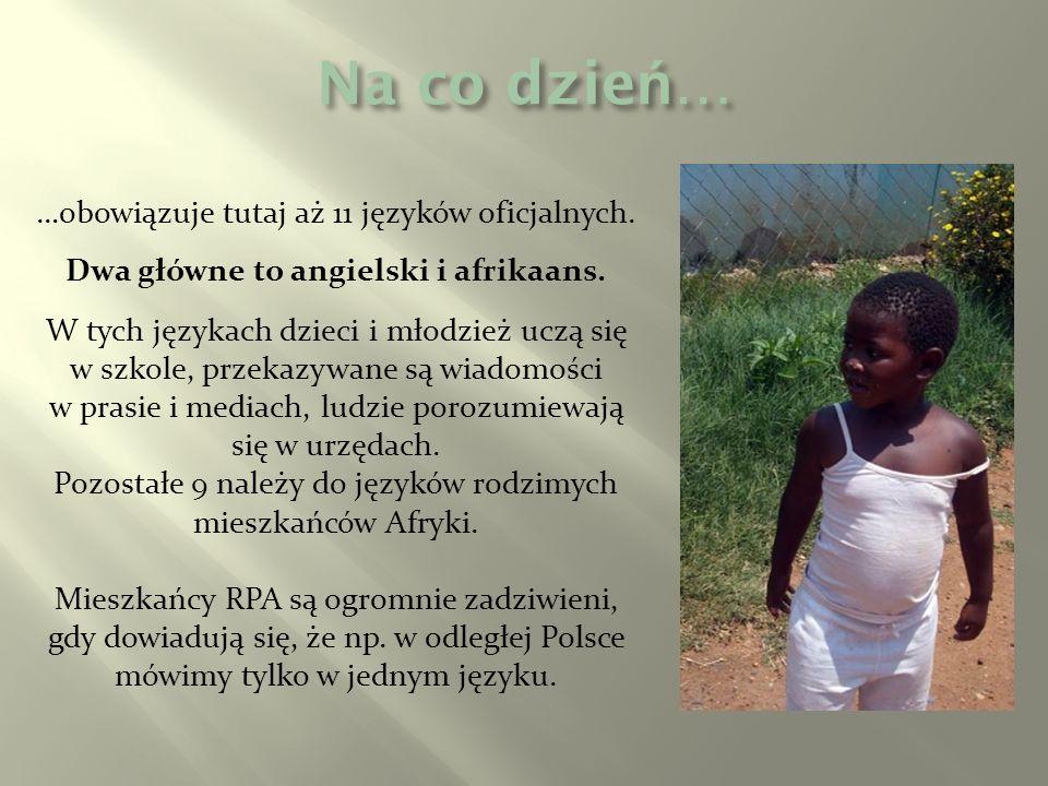 Dwa główne to angielski i afrikaans.