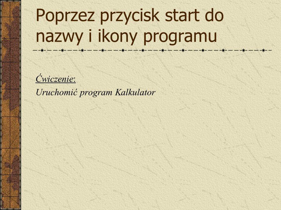 Poprzez przycisk start do nazwy i ikony programu