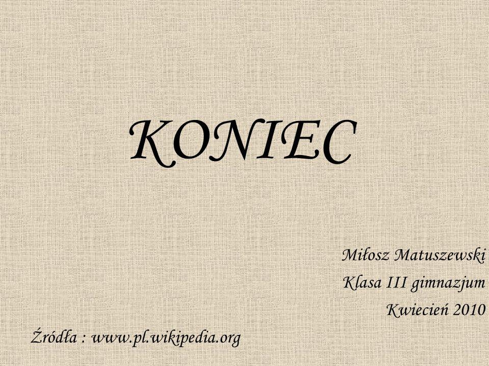 KONIEC Miłosz Matuszewski Klasa III gimnazjum Kwiecień 2010
