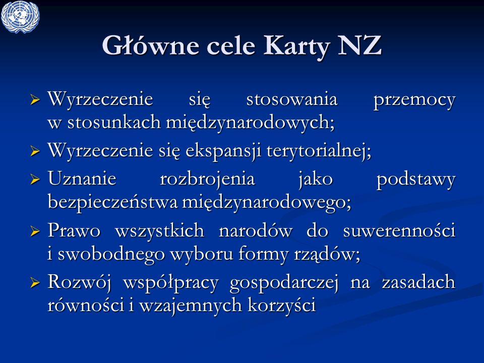 Główne cele Karty NZ Wyrzeczenie się stosowania przemocy w stosunkach międzynarodowych; Wyrzeczenie się ekspansji terytorialnej;