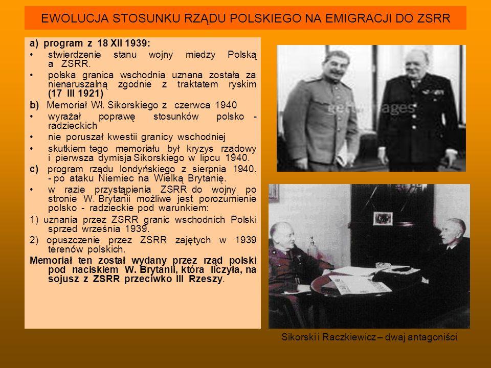 EWOLUCJA STOSUNKU RZĄDU POLSKIEGO NA EMIGRACJI DO ZSRR