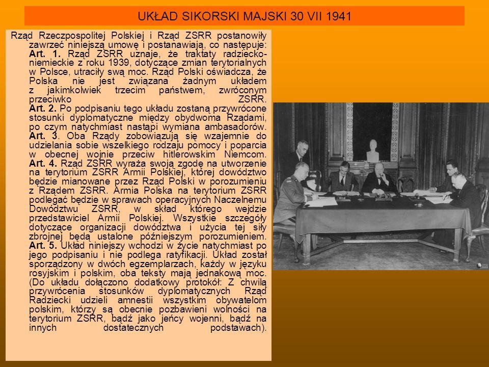 UKŁAD SIKORSKI MAJSKI 30 VII 1941