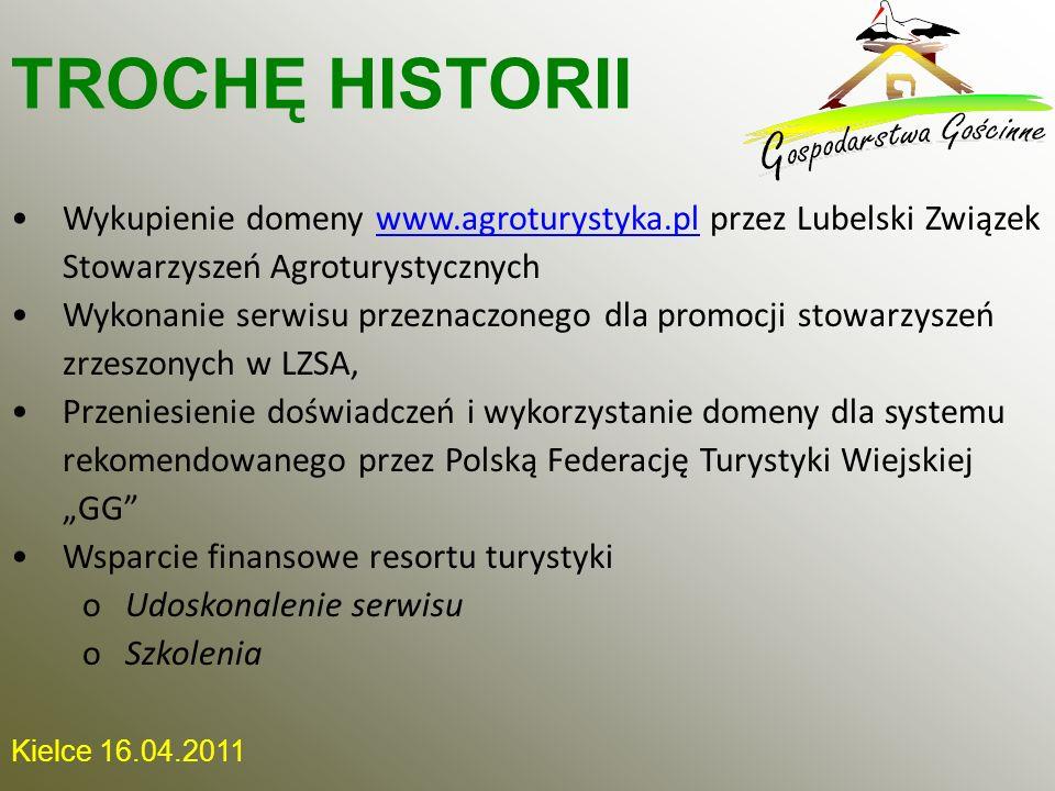 TROCHĘ HISTORII Wykupienie domeny www.agroturystyka.pl przez Lubelski Związek Stowarzyszeń Agroturystycznych.