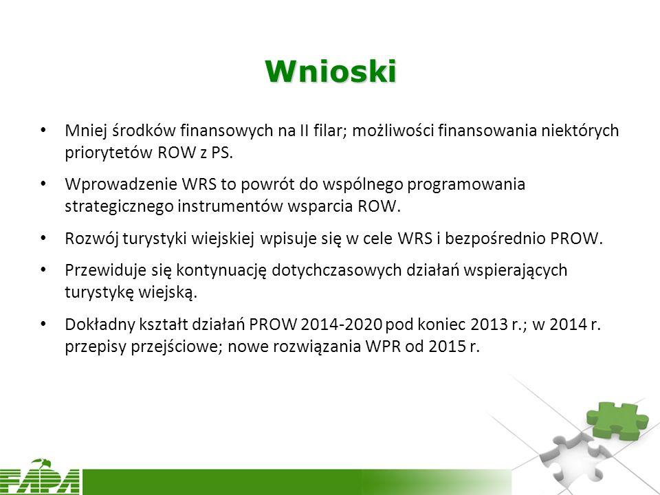 Wnioski Mniej środków finansowych na II filar; możliwości finansowania niektórych priorytetów ROW z PS.