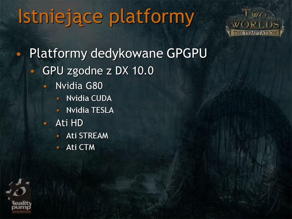 Istniejące platformy Platformy dedykowane GPGPU GPU zgodne z DX 10.0