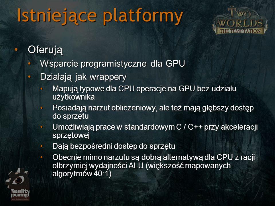 Istniejące platformy Oferują Wsparcie programistyczne dla GPU