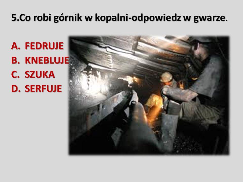 5.Co robi górnik w kopalni-odpowiedz w gwarze.