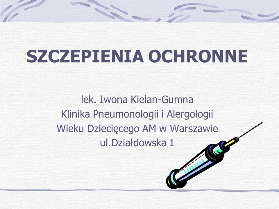 SZCZEPIENIA OCHRONNE lek. Iwona Kielan-Gumna