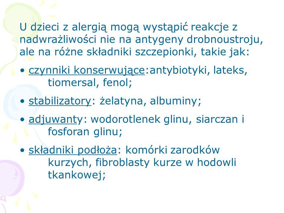 U dzieci z alergią mogą wystąpić reakcje z nadwrażliwości nie na antygeny drobnoustroju, ale na różne składniki szczepionki, takie jak: