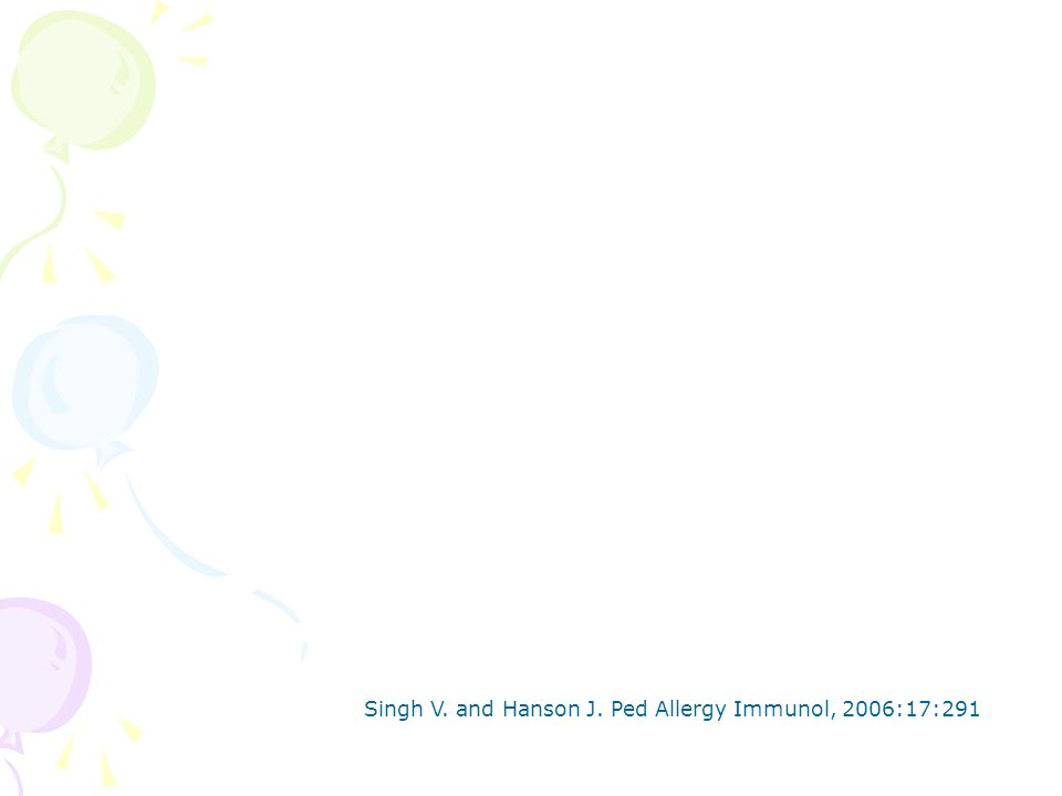 Singh V. and Hanson J. Ped Allergy Immunol, 2006:17:291