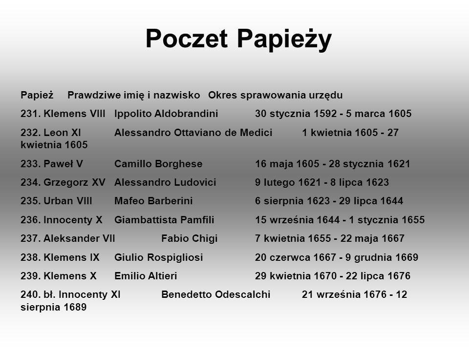 Poczet Papieży Papież Prawdziwe imię i nazwisko Okres sprawowania urzędu. 231. Klemens VIII Ippolito Aldobrandini 30 stycznia 1592 - 5 marca 1605.