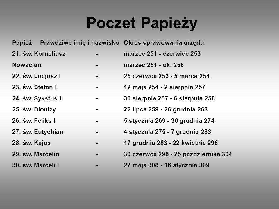 Poczet Papieży Papież Prawdziwe imię i nazwisko Okres sprawowania urzędu. 21. św. Korneliusz - marzec 251 - czerwiec 253.