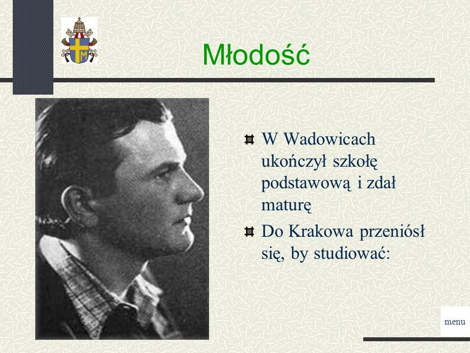 Młodość W Wadowicach ukończył szkołę podstawową i zdał maturę