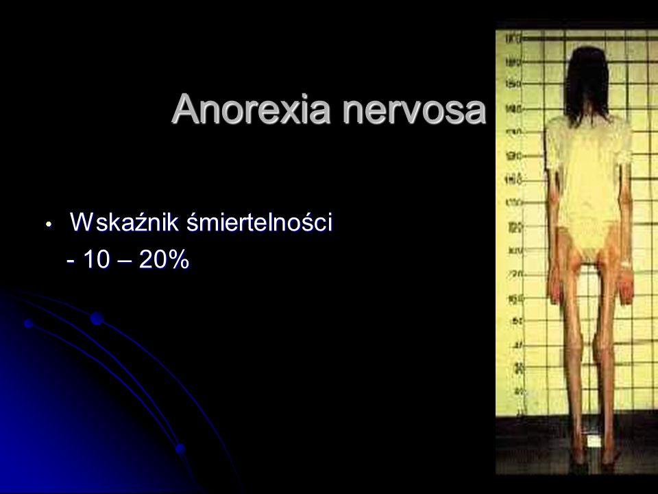 Anorexia nervosa Wskaźnik śmiertelności - 10 – 20%