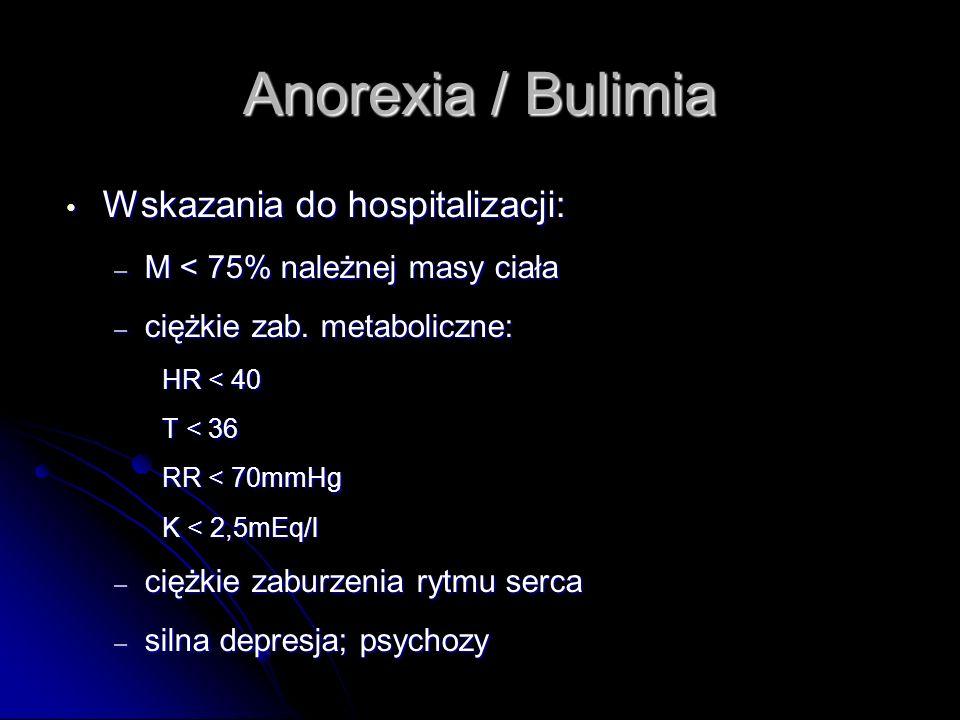 Anorexia / Bulimia Wskazania do hospitalizacji:
