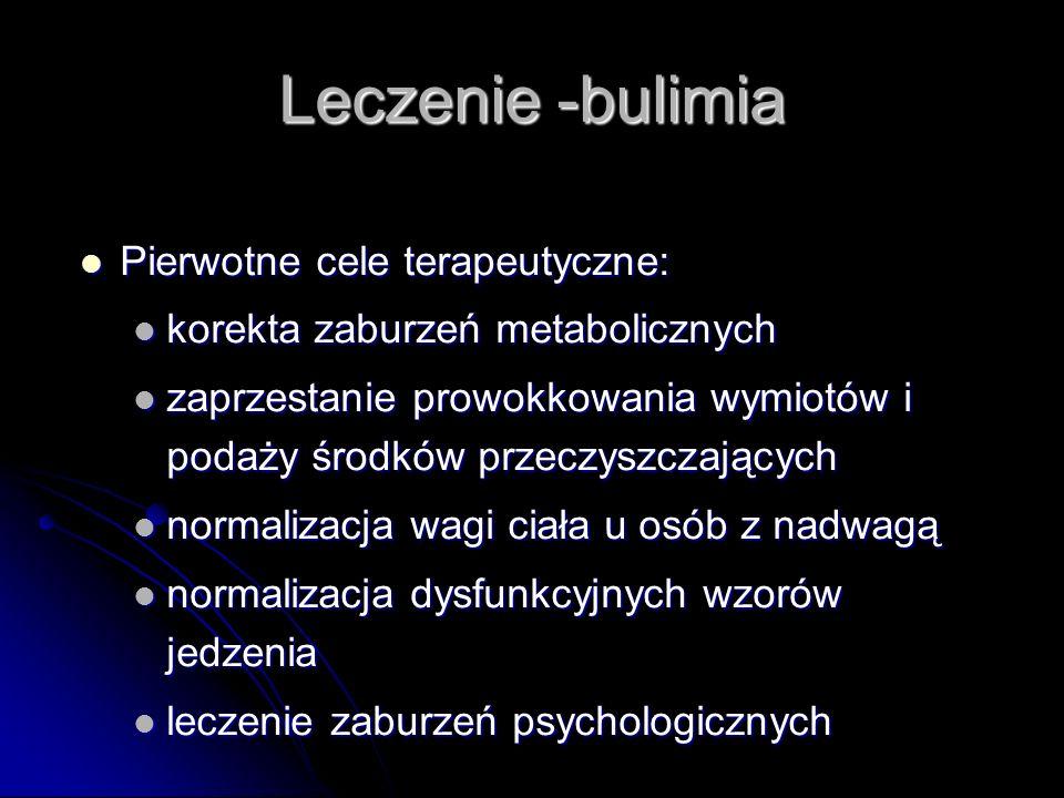 Leczenie -bulimia Pierwotne cele terapeutyczne: