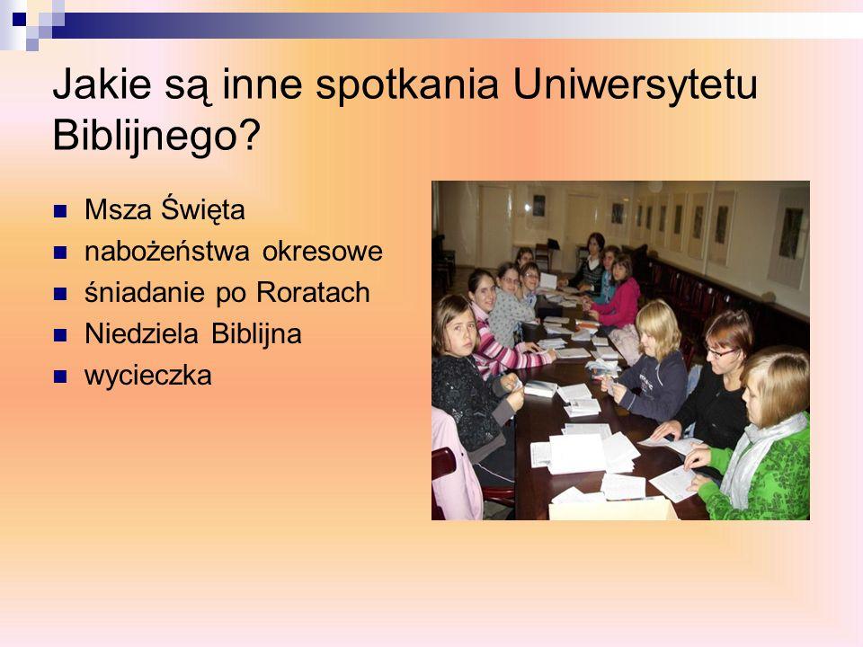 Jakie są inne spotkania Uniwersytetu Biblijnego