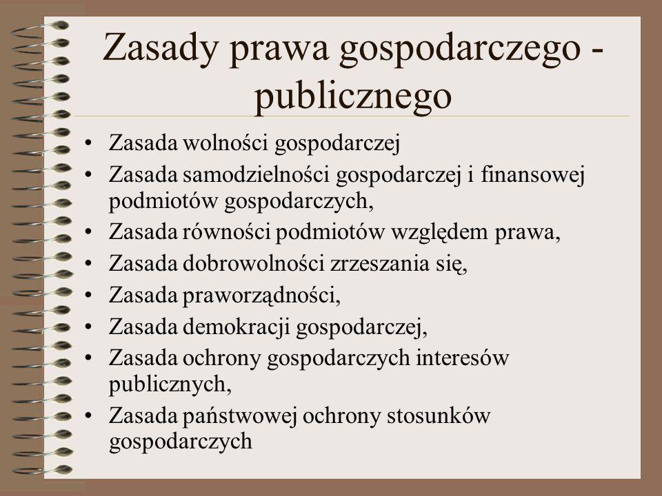 Zasady prawa gospodarczego - publicznego
