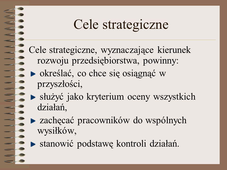 Cele strategiczne Cele strategiczne, wyznaczające kierunek rozwoju przedsiębiorstwa, powinny: określać, co chce się osiągnąć w przyszłości,