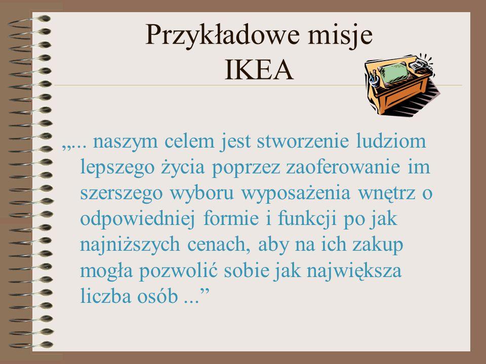 Przykładowe misje IKEA