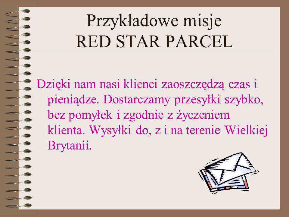 Przykładowe misje RED STAR PARCEL