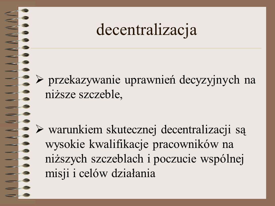 decentralizacja przekazywanie uprawnień decyzyjnych na niższe szczeble,