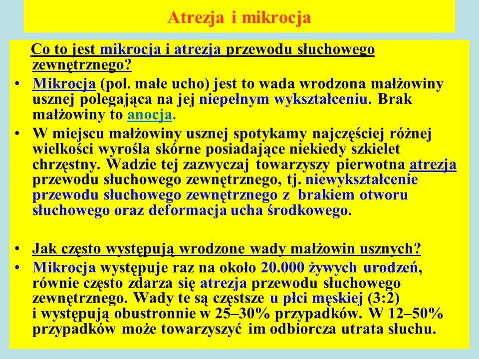 Atrezja i mikrocja Co to jest mikrocja i atrezja przewodu słuchowego zewnętrznego