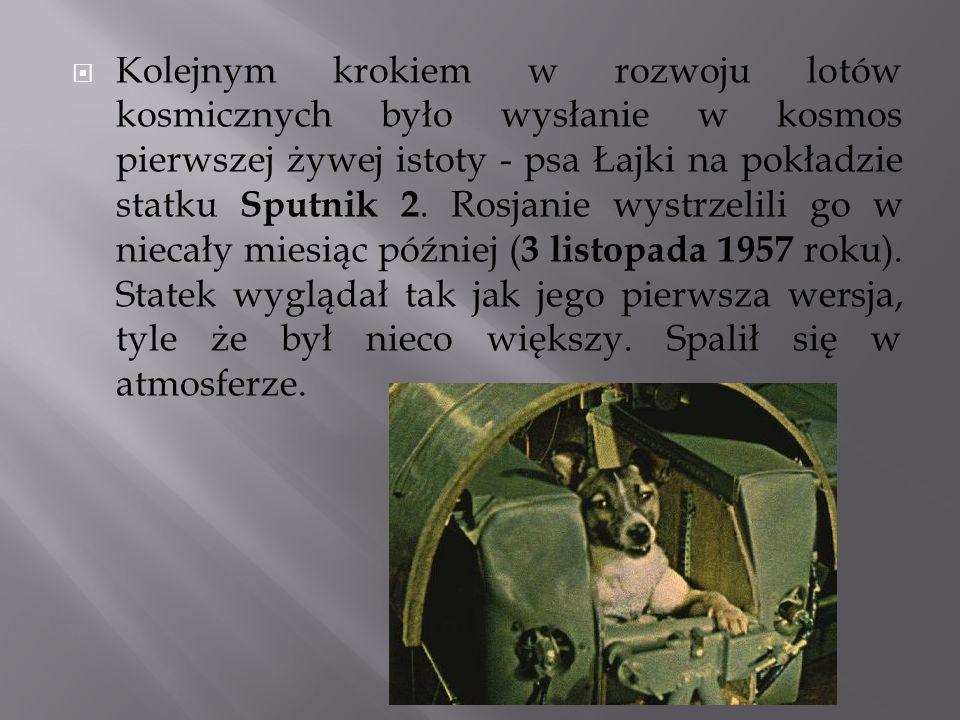 Kolejnym krokiem w rozwoju lotów kosmicznych było wysłanie w kosmos pierwszej żywej istoty - psa Łajki na pokładzie statku Sputnik 2.