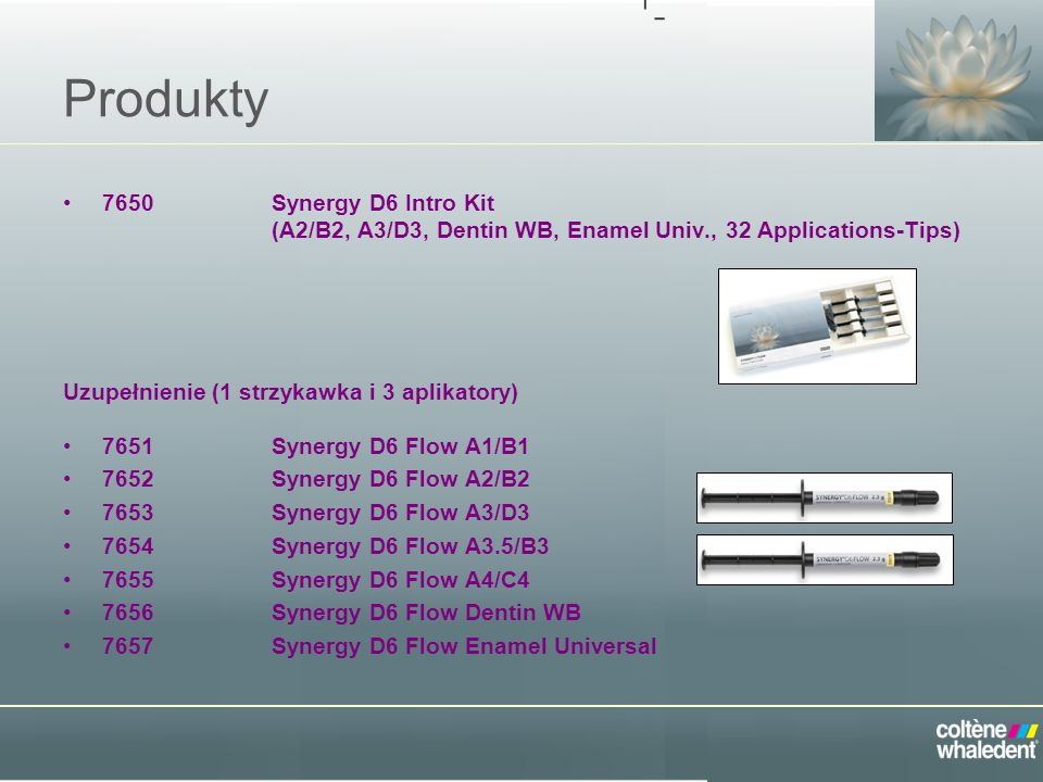 Produkty 7650 Synergy D6 Intro Kit (A2/B2, A3/D3, Dentin WB, Enamel Univ., 32 Applications-Tips)