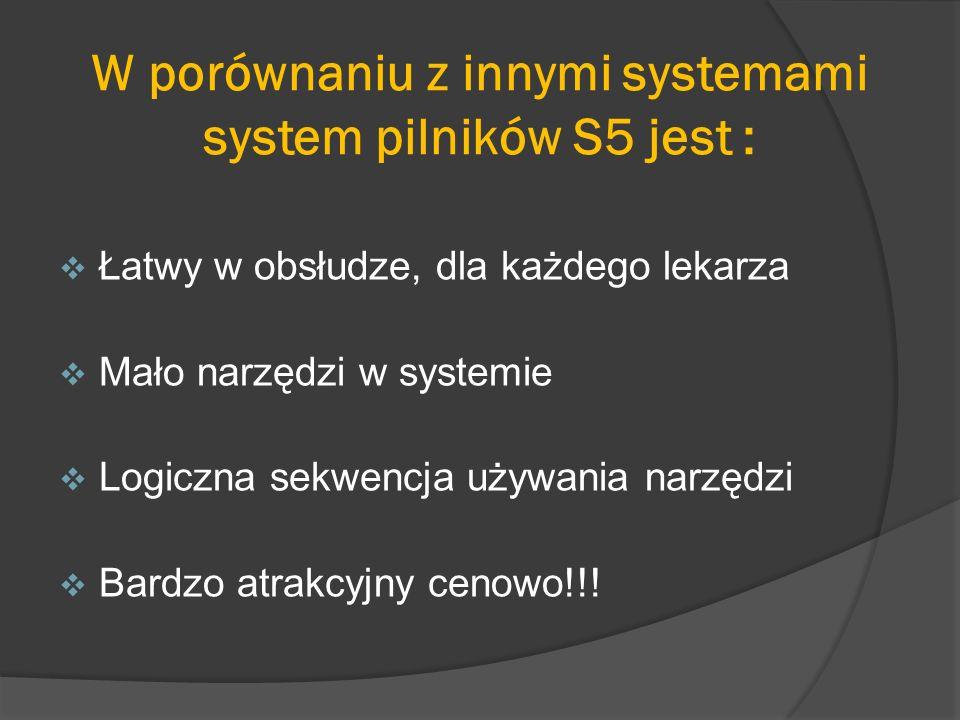 W porównaniu z innymi systemami system pilników S5 jest :