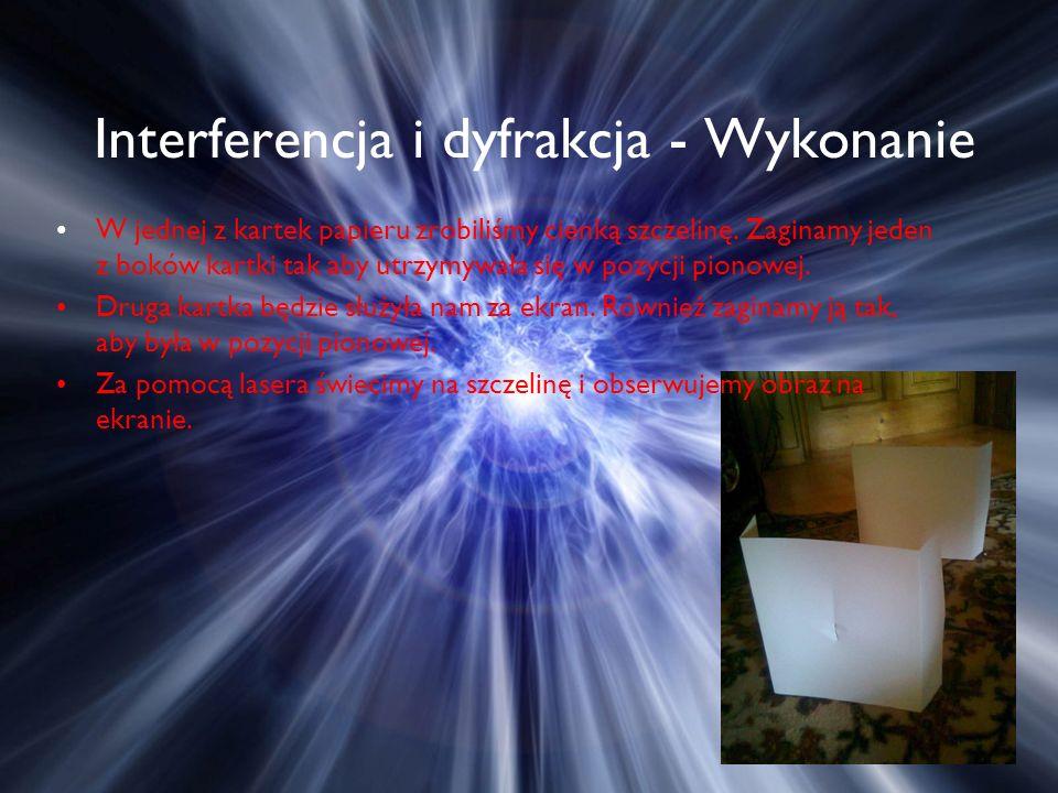 Interferencja i dyfrakcja - Wykonanie