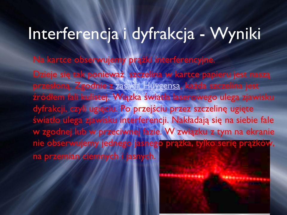 Interferencja i dyfrakcja - Wyniki