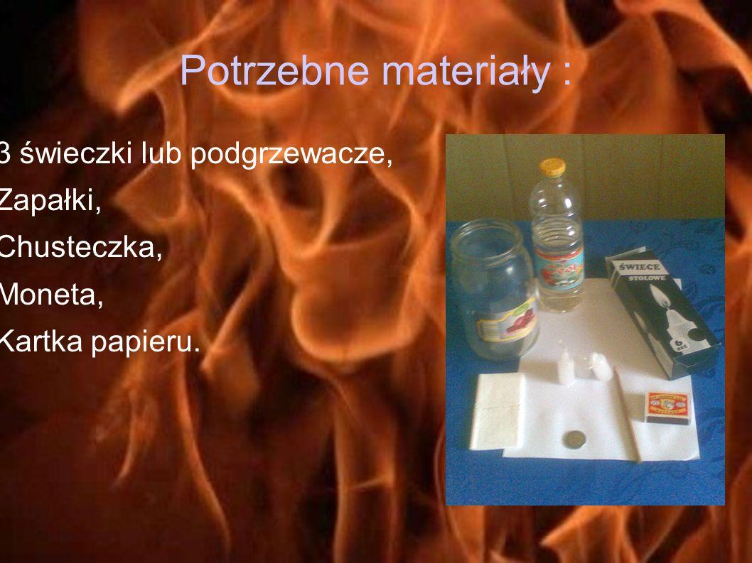Potrzebne materiały : 3 świeczki lub podgrzewacze, Zapałki,