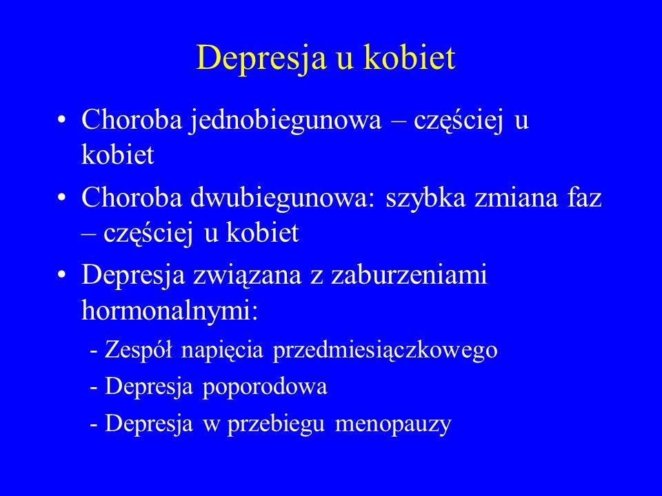 Depresja u kobiet Choroba jednobiegunowa – częściej u kobiet