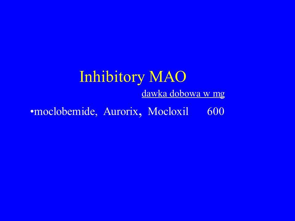 Inhibitory MAO dawka dobowa w mg moclobemide, Aurorix, Mocloxil 600