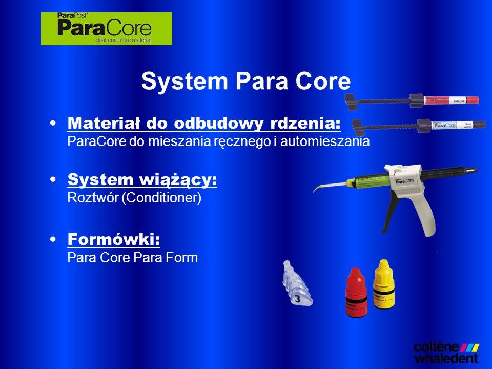 System Para Core Materiał do odbudowy rdzenia: ParaCore do mieszania ręcznego i automieszania. System wiążący: Roztwór (Conditioner)