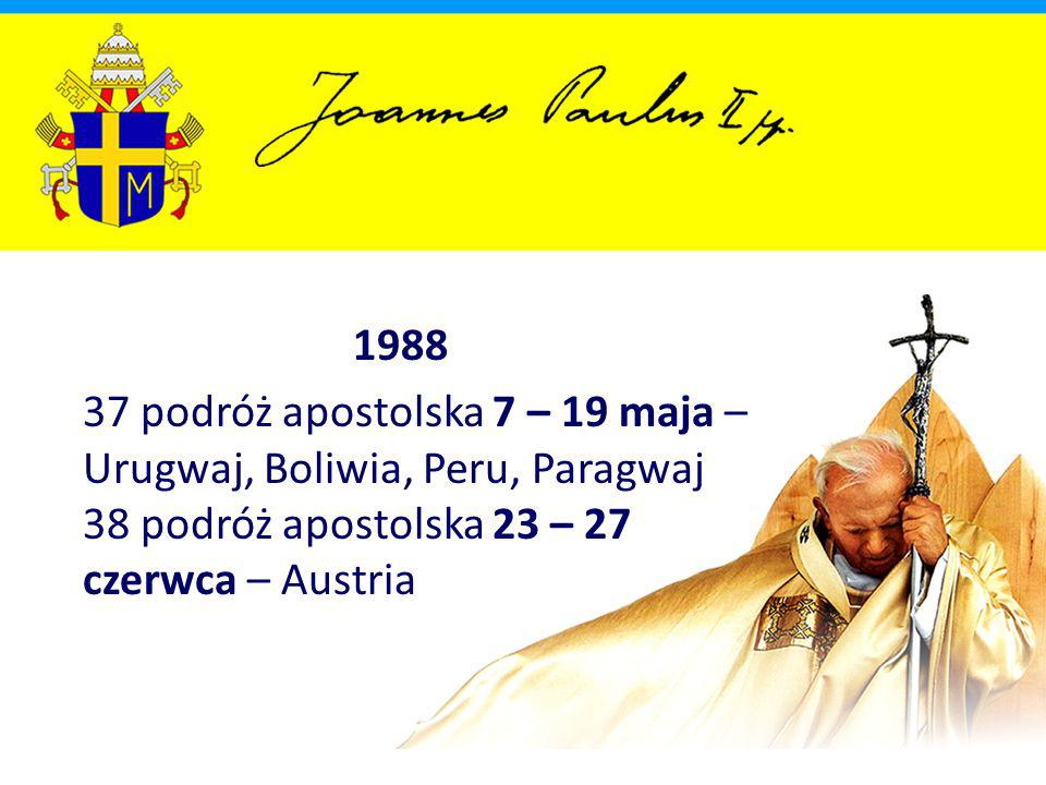 1988 37 podróż apostolska 7 – 19 maja – Urugwaj, Boliwia, Peru, Paragwaj 38 podróż apostolska 23 – 27 czerwca – Austria.