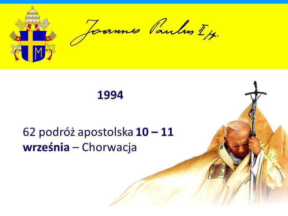 1994 62 podróż apostolska 10 – 11 września – Chorwacja
