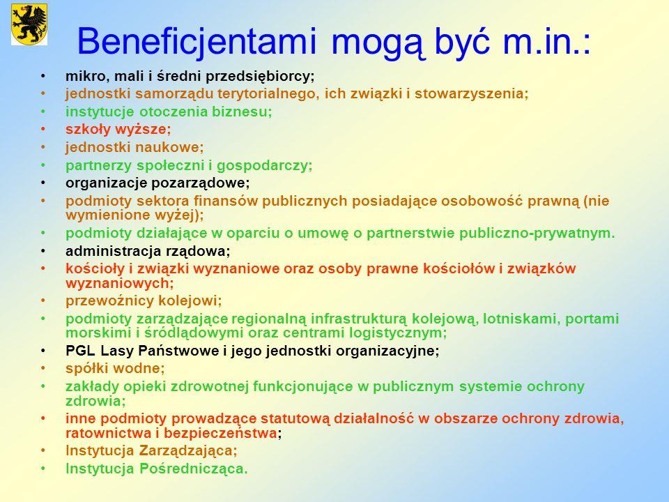 Beneficjentami mogą być m.in.: