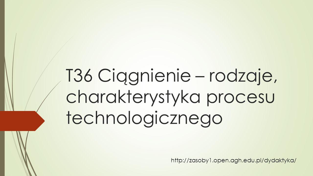 T36 Ciągnienie – rodzaje, charakterystyka procesu technologicznego