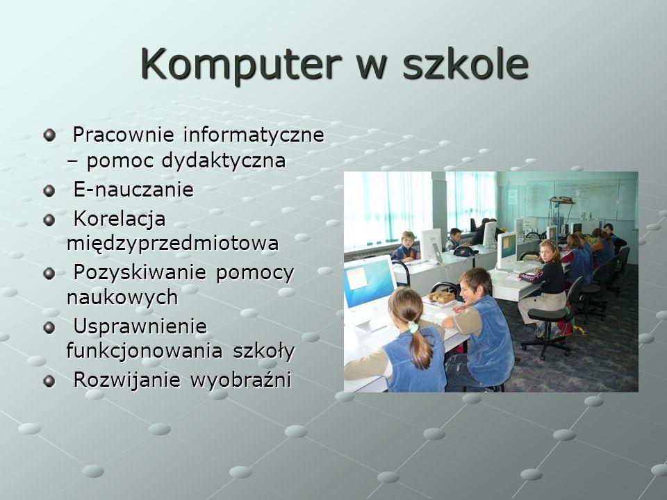 Komputer w szkole Pracownie informatyczne – pomoc dydaktyczna