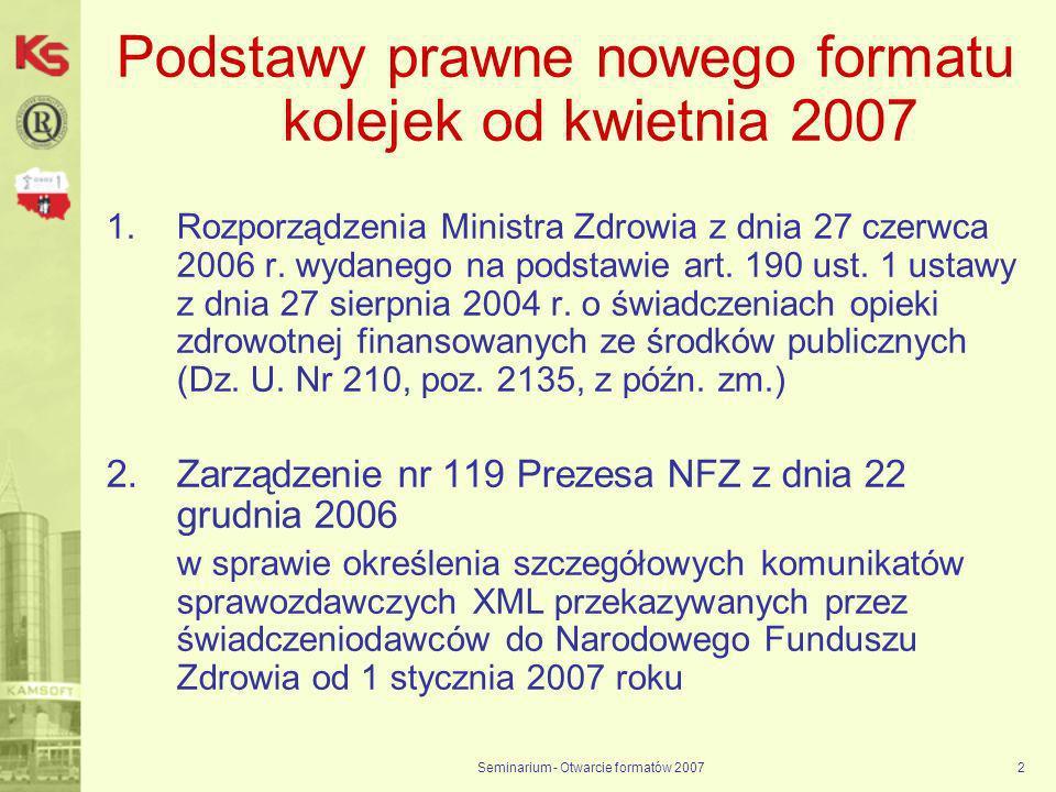 Podstawy prawne nowego formatu kolejek od kwietnia 2007