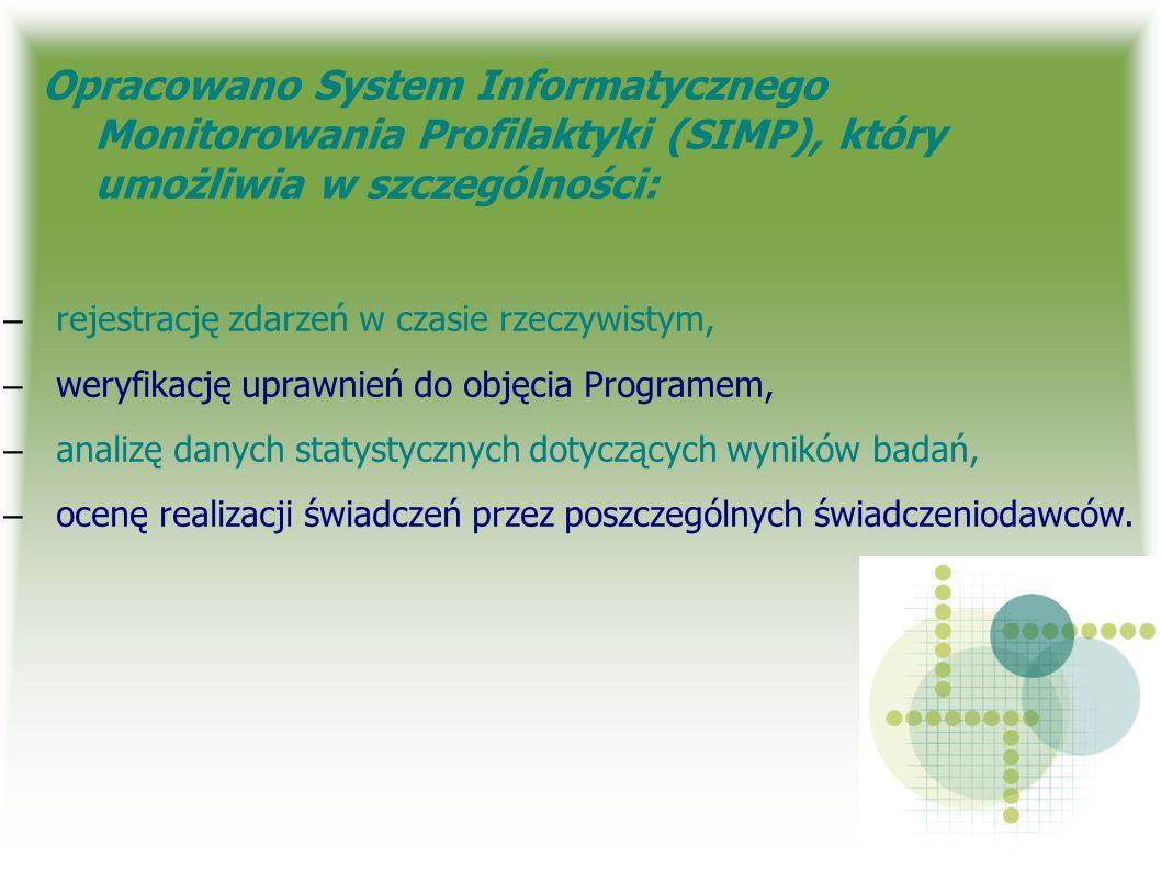 Opracowano System Informatycznego Monitorowania Profilaktyki (SIMP), który umożliwia w szczególności: