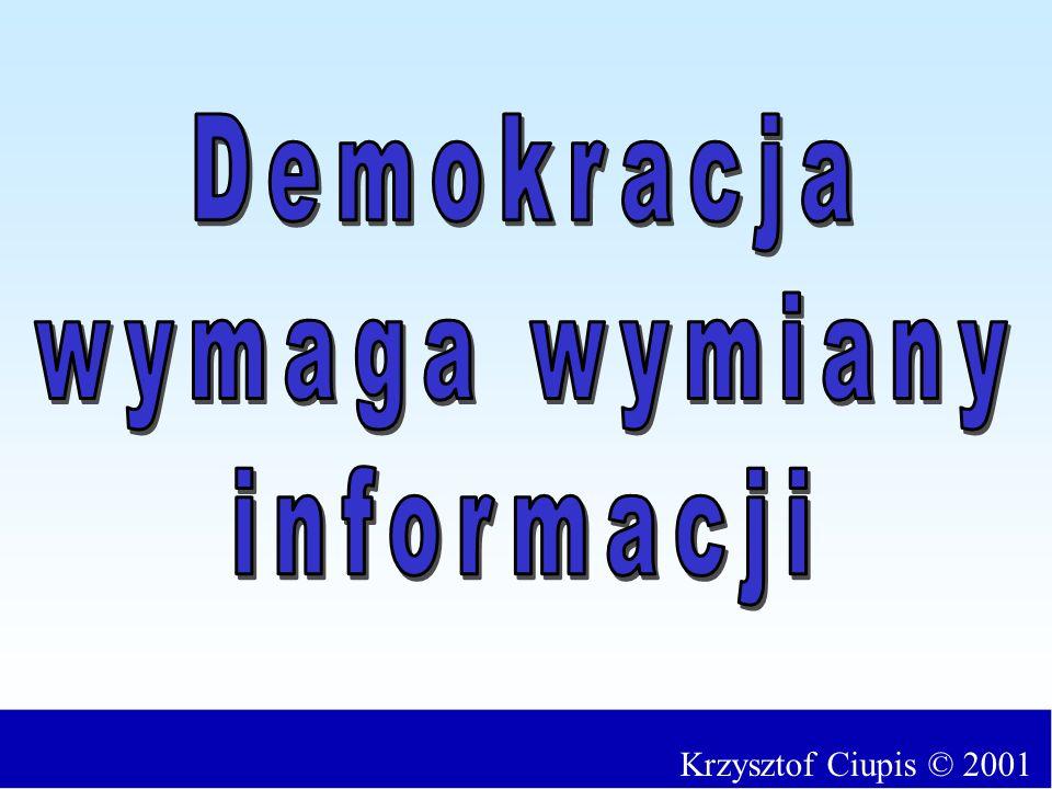 Demokracja wymaga wymiany informacji Krzysztof Ciupis © 2001